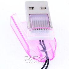 Adaptador Lector Tarjeta MICRO SD a USB Portátil, Color ROSA DESDE ESPAÑA 01 v39