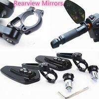 "Black Motorcycle Round 7/8"" 22MM Handle Bar End Rearview Side Mirrors Bike"
