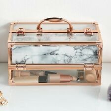 Rose Gold Acrylic Makeup Box Clear Vanity Case Cosmetic Storage Beauty Organiser