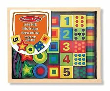 Melissa & Doug 13775 Deluxe Wooden Lacing Beads Educational Activity With 27 Bea