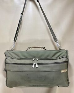 """Briggs Riley Baseline Compact Tri-Fold 22"""" Carry On Garment Bag Olive Green 1175"""