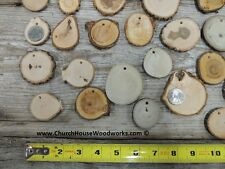25 small wood slice ornaments, with holes, tree branch slices, wood jewelry
