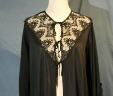 Vintage Formfit Rogers ( Mad Men) Sheer Black Robe with Lace Detail, Size 18