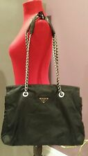 PRADA LOGO WOMEN'S LARGE NYLON PLATED CHAIN 3 SECTION INSIDE SHOULDER BAG PURSE