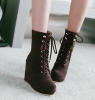 Women Lace Up Wedge High Heels Platform Mid Calf Boots Solid Stylish Booties