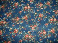 Vintage Concord Fabric by The Kesslers Mini Roses on Navy  BTY