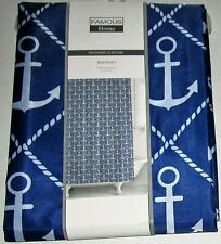 """NAUTICAL Fabric Shower Curtain 70"""" X 72"""" ANCHORS 100% Polyester"""