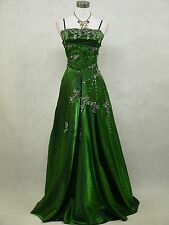 Cherlone Green Sparkly Long Satin Ball Prom Wedding/Evening Gown Dress UK 8-10