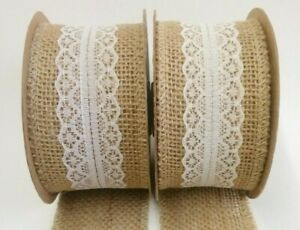 "50mm (2"") Wide Lace & Hessian Ribbon - Choice of Ivory or White Lace"