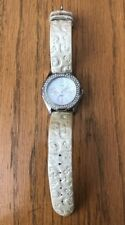 Guess Women's Watch w/Crystals & MOP Dial Guess Logo Leather Band G95432L