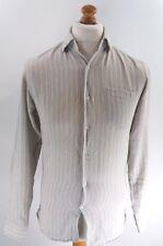 REISS Mens Shirt S Small Grey Stripes Cotton