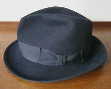 VINTAGE LOCK & CO BLACK FUR FELT SHORT BRIM TRILBY HAT ST JAMES LONDON SIZE S