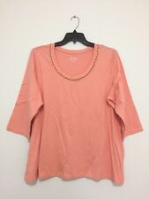 Denim & Co. Plus Size Peach 3/4 Sleeve Tunic Blouse Top Beaded Shirt Tee 2X New