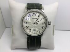 MONTBLANC 36MM 7042 MEISTERSTUCK STAINLESS STEEL QUARTZ WATCH W/LEATHER  STRAP