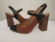 Nine West Women's  Slingback Pumps Kickitup Brown/ Black Leather Size 10 M