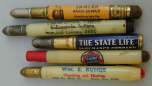Old Original Collection 5 Different Advertising Bullet Pencils 1940's Very Rare