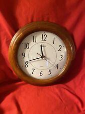 "Bulova Quartz 12 1/2"" Solid Wood Wall Clock"