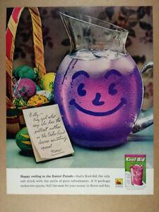 1962 Kool-Aid Grape smiling pitcher photo vintage print Ad