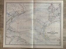 1881 NORTH ATLANTIC OCEAN LARGE HAND COLOURED ORIGINAL ANTIQUE MAP BY JOHNSTON
