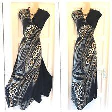Gorgeous Joseph Ribkoff Multi Asymmetric Stretchy Maxi Dress Size 18
