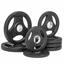 XMark Rubber Coated Tri-grip 8pc Olympic Plate Weights of 45-lbs, XM-3377-BAL-45