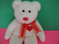 "Ty 1999 White Bear Valentino Beanie Buddies Bear Plush Stuffed Animal 13"""