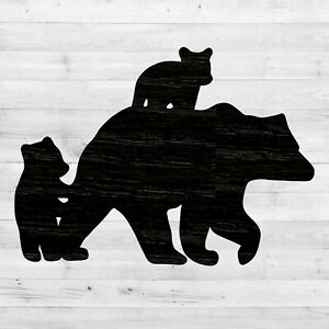 Mama Bear with Cubs Cut out, Wood plaque sign, Home decor, Craft supplies