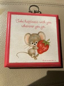 Vintage Hallmark Plaque Mouse Strawberry 1983 Take Happiness With You