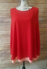 NWT GIBSON LATIMER LAYERED CAREER  SLEEVELESS  TOP BLOUSE RED AND PEACH sz 3 X