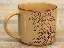 Starbucks Mug 2013 Engraved Leaf Tan Brown 14oz Coffee Cup Tea Leaves