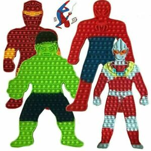 Jumbo Push Pop Bubble It Fidget Toy Spiderman Hulk Hero Stress Relief Game