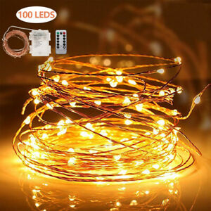100 LED Lichterkette Kupferdraht Draht Beleuchtung Außen Party Garten Warmweiß