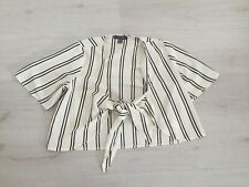 PRIMARK B&W STRIPE CHIFFON LAYERING TOP WITH TIE FRONT SIZE 10