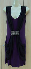 Ladies Purple & Black Sequined Viscose Jersey Sleeveless Party Dress Size XS (8)