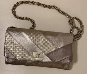 ELLIOTT LUCCA Metallic Gold & Bronze Woven Leather Shoulder Bag/Clutch