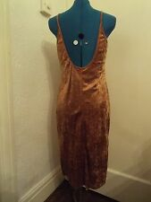 Gold/mustard stretch vevety feel dress with low back by Essentials size 10 NWOT
