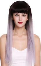 PERRUQUE pour femme long lisse frange ombre brun foncé violet gris rgf-6190