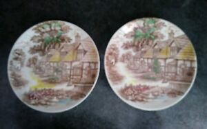 """Vintage World Wide Quality English Cottage 10.25"""" Plates Lot of 2 Good Cond."""