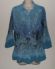 """Fashion Bug Blue & Silver Pleated Button Down Blouse S   Bust 38 Length 26"""""""