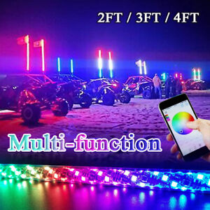 2x Spiral LED Whip Lights RGB Color Chasing Brake Lights & Turn Signal Functions
