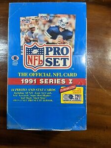 1991 Pro Set Official NFL Series 1 Trading Cards, Sealed Box w/36 Packs of Cards