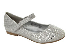 GIRLS SILVER GLITTER RHINESTONE BRIDESMAID WEDDING PARTY PUMPS SHOES SIZE 10-2