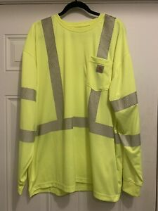 Carhartt high visibility Long sleeve Tee Reflectors On Front & Back Mens XXL