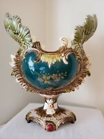"""19th Century French Majolica Centerpiece Footed Jardiniere Planter 13"""""""