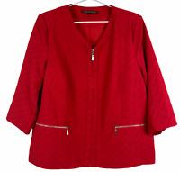 Liz Jordan Womens Red Lined Zipper Front 3/4 Sleeve Jacket Plus Size 16