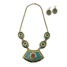 Tibetan Solid Brass Bib Collar Coral Turquoise Necklace Earrings