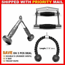 3 PCs Home Gym Attachments Tricep Rope Seated Row Handle V Curl Bar Rubber Grips