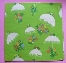 "VINTAGE SHOWER WHITE UMBRELLAS GIFT WRAP PAPER 2 SHEETS 20"" X 30"" NICE"