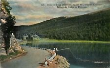 Linen Postcard CO D052 Scene Echo Lake Lodge Distance Denver Cancel 1950 fishing