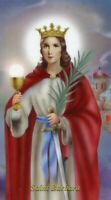St. Barbara - Relic Laminated Holy Card- Blessed by Pope Francis